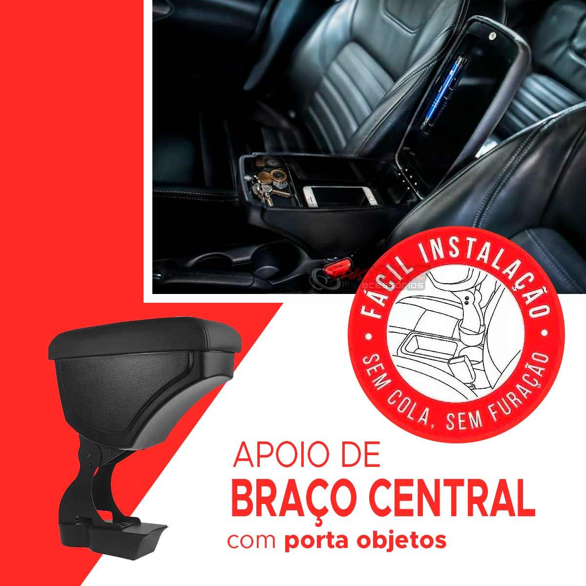 Apoio de braço Palio Siena Strada 1996 até 2012 Uno Mille 1984 até 2012 curvo preto