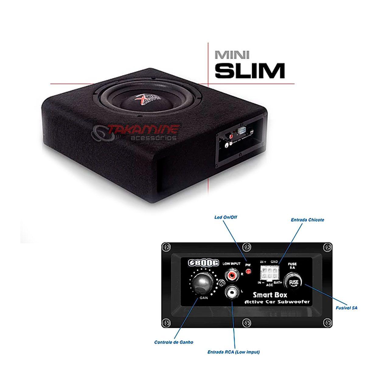 "Caixa amplificada Mini Slim com subwoofer 8"" 120WRMS"