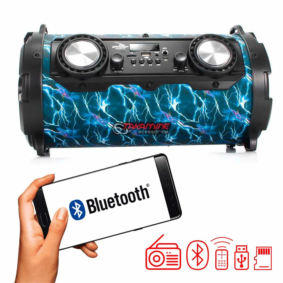 Caixa De Som Portátil com Bluetooth / Fm / entradas auxiliar, para microfone Grasep D-P11