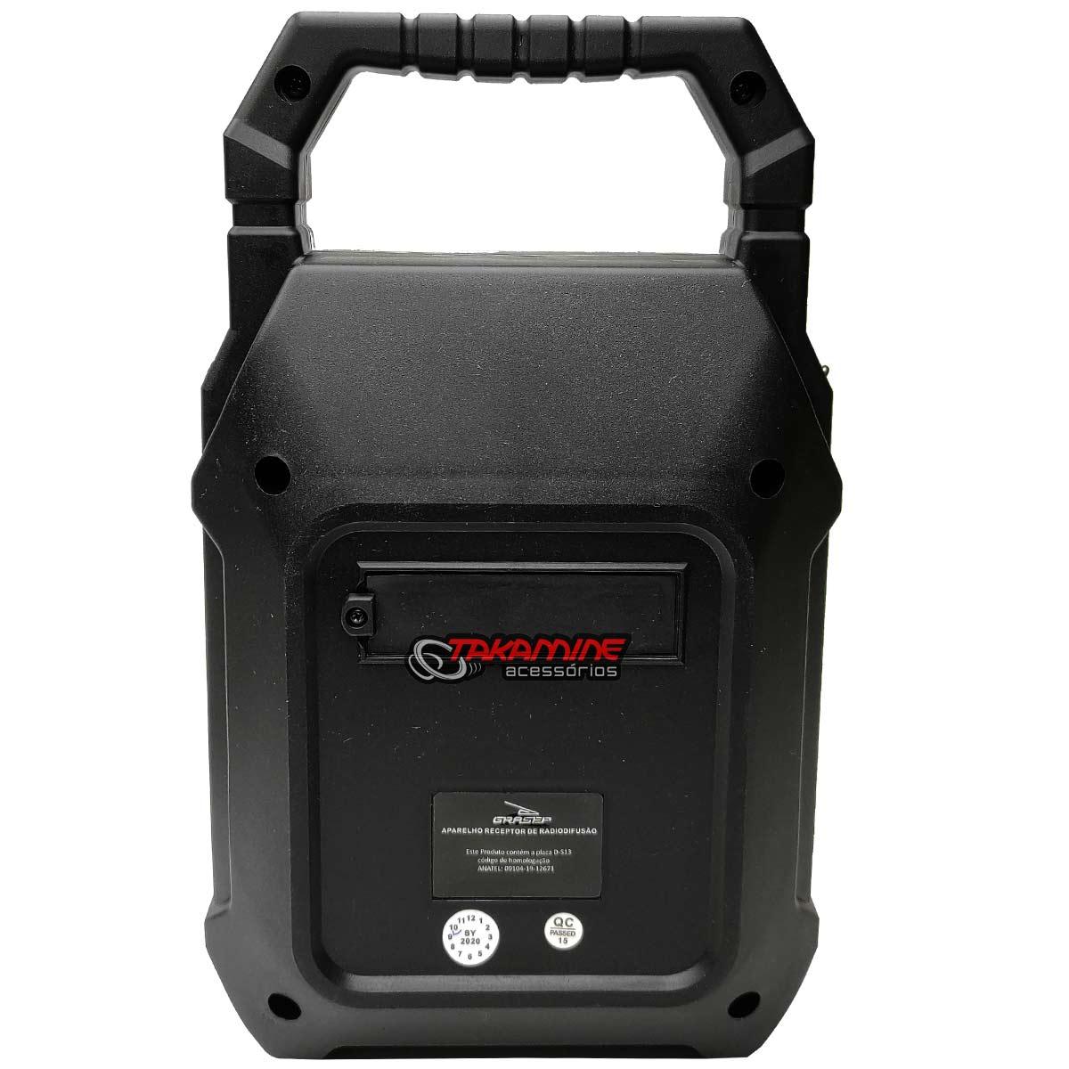 Caixa De Som Portátil com Bluetooth / Fm / entradas auxiliar, USB, SD Card e para microfone Grasep D-S6