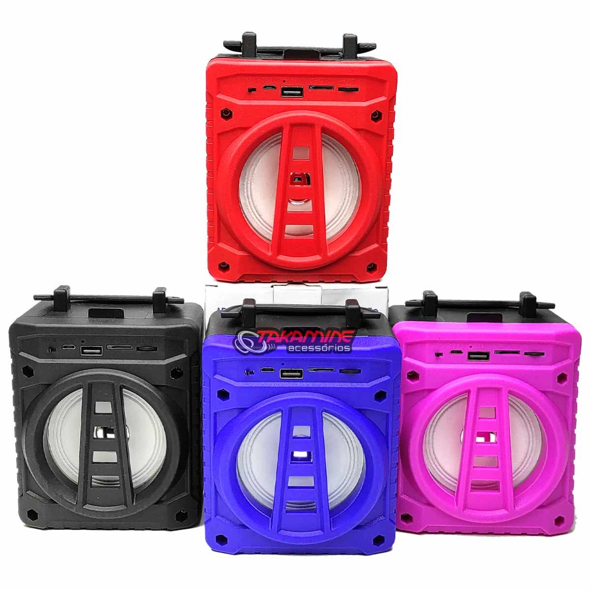 Caixa De Som Portátil com Bluetooth / Fm / entradas auxiliar, USB, SD Card e para microfone Grasep AL-301