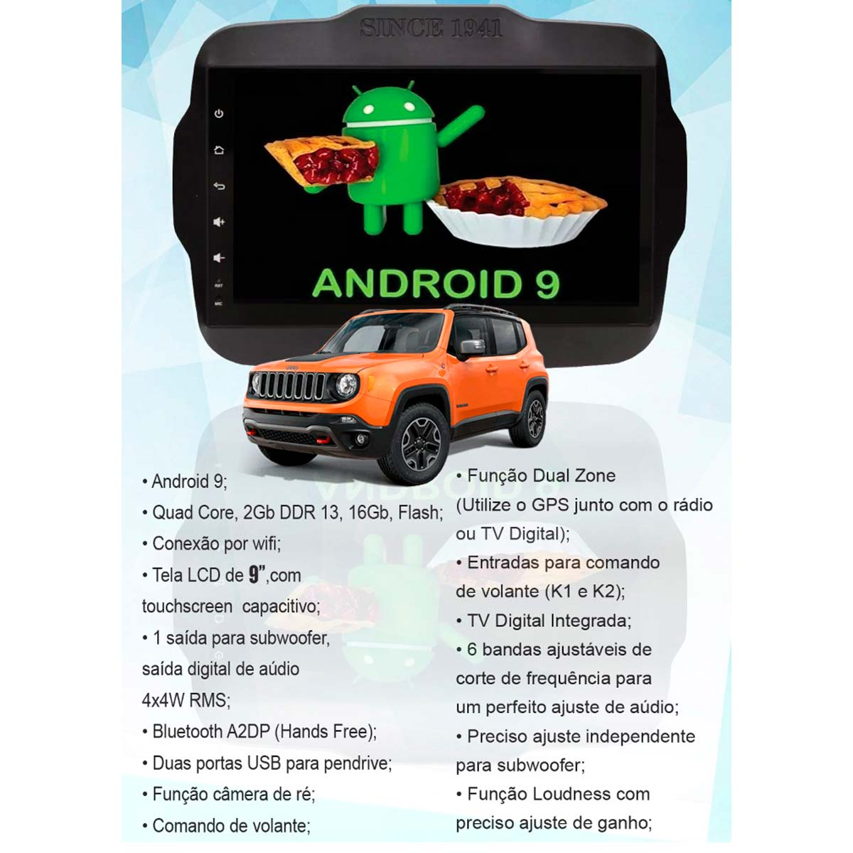 "Central multimídia Jeep Renegade Android tela de 9"" GPS, TV Digital, wifi e espelhamento"