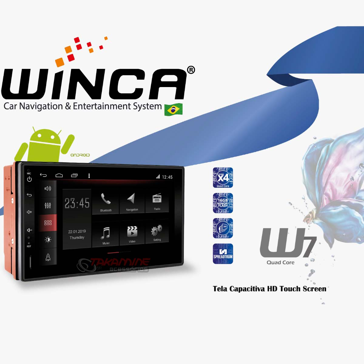 Central multimídia Winca W7 Android Slim universal GPS, TV Digital, Wifi, baixe aplicativos