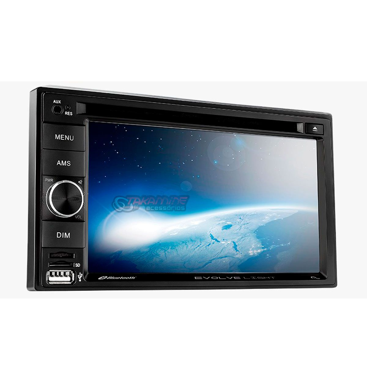 "DVD automotivo Evolve Light 2 Din com Tela de 6.2"" USB / Bluetooth e Espelhamento de Celular"