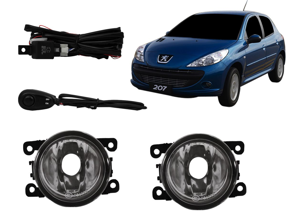 Farol de milha Peugeot 207 / Peugeot 307 / Hoggar / C3 / C4 / C5 / Renegade / Kwid / Picasso / Logan / Sandero botão modelo universal
