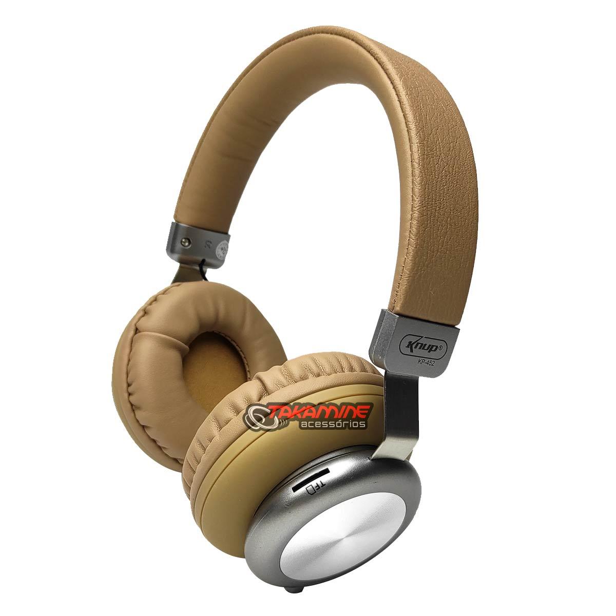 Fone de ouvido sem fio Bluetooth com rádio FM bege