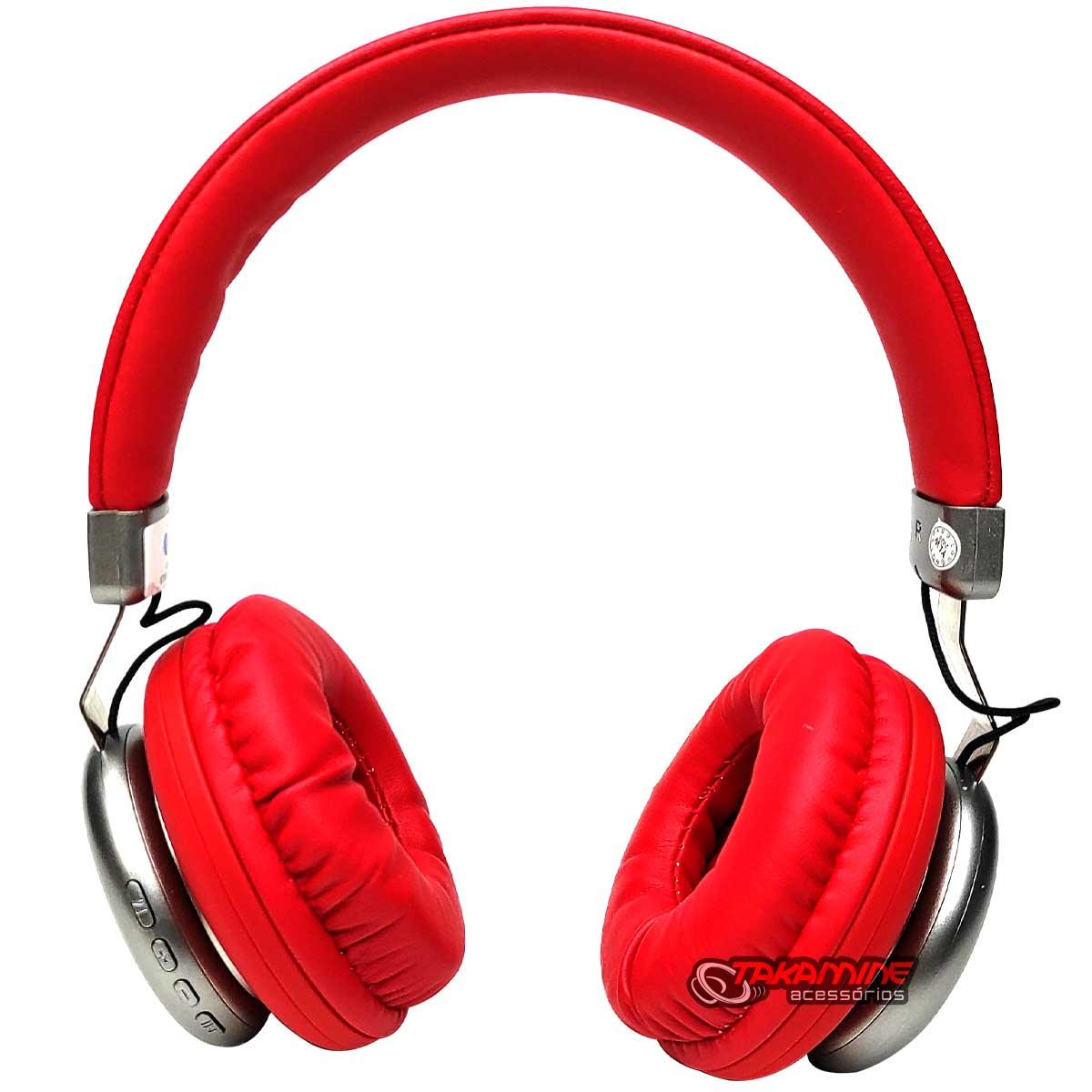 Fone de ouvido sem fio Bluetooth com rádio FM vermelho