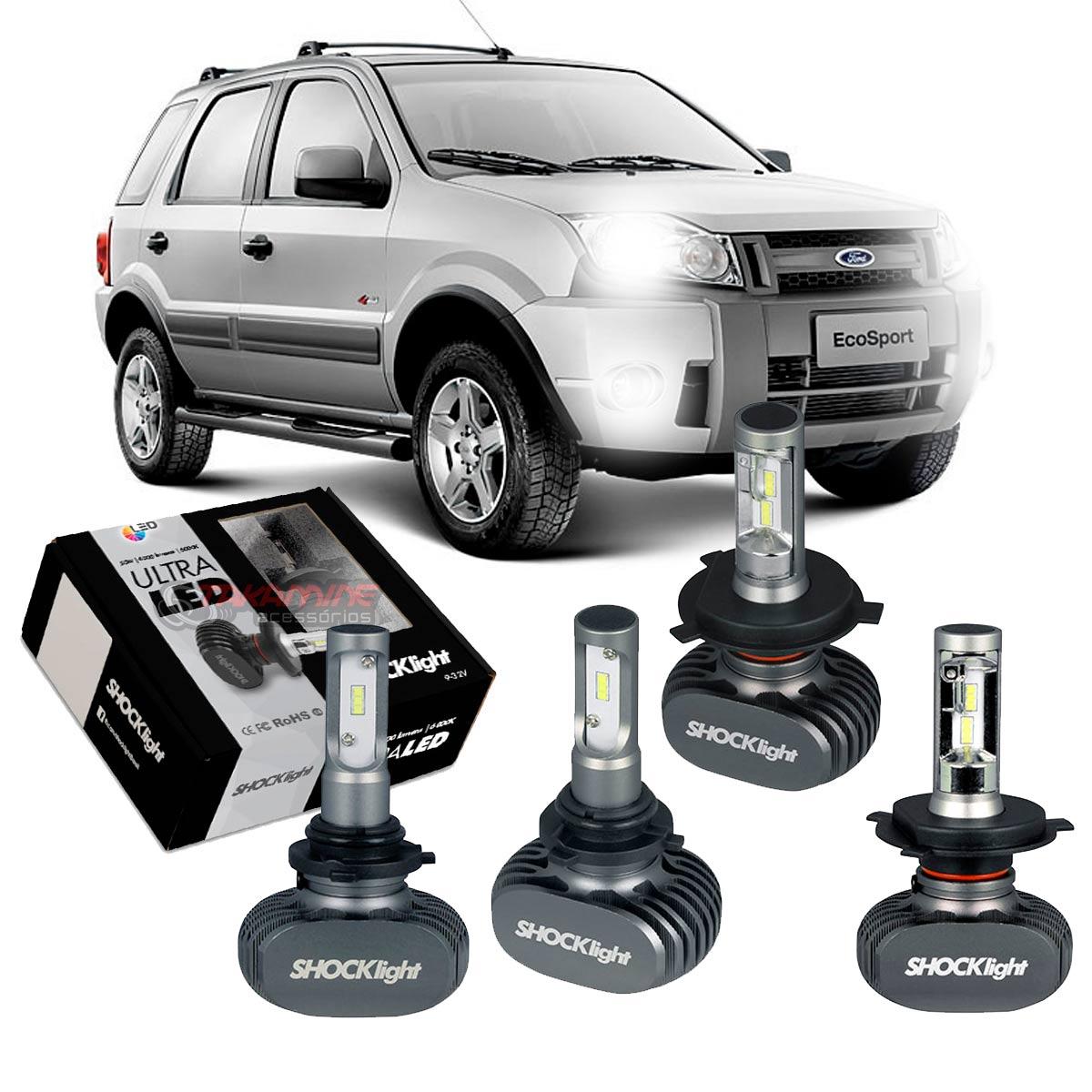 Kit Ultra LED Ecosport 2008 2009 2010 2011 2012 tipo xenon farol alto e baixo H4 e milha HB4