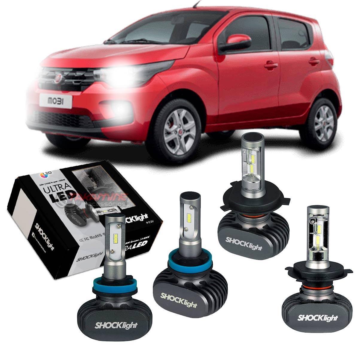 Kit Ultra LED Mobi 2016 2017 2018 2019 2020 tipo xenon farol alto e baixo H4 e milha H11 50W