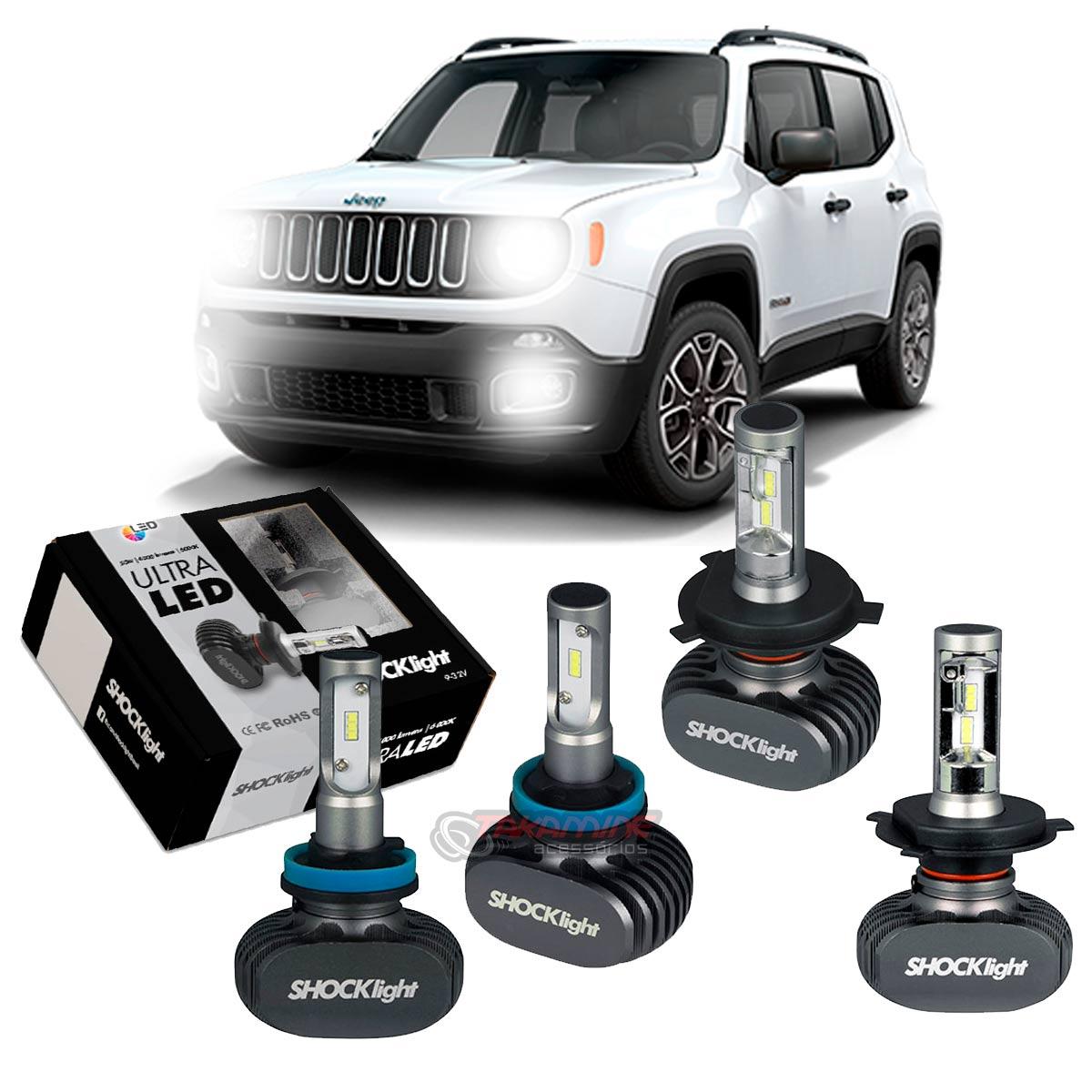 Kit Ultra LED Renegade 2015 2016 2017 2018 2019 2020 tipo xenon farol alto e baixo H4 e milha H11 50W
