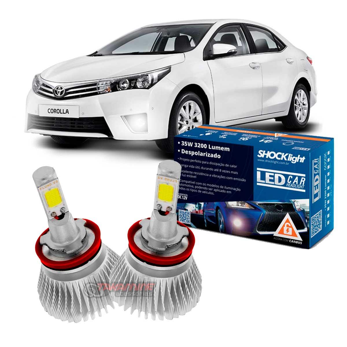 Kit LED 2D Headlight Shocklight tipo xenon Corolla 2015 2016 2017 - farol de milha H11 35W