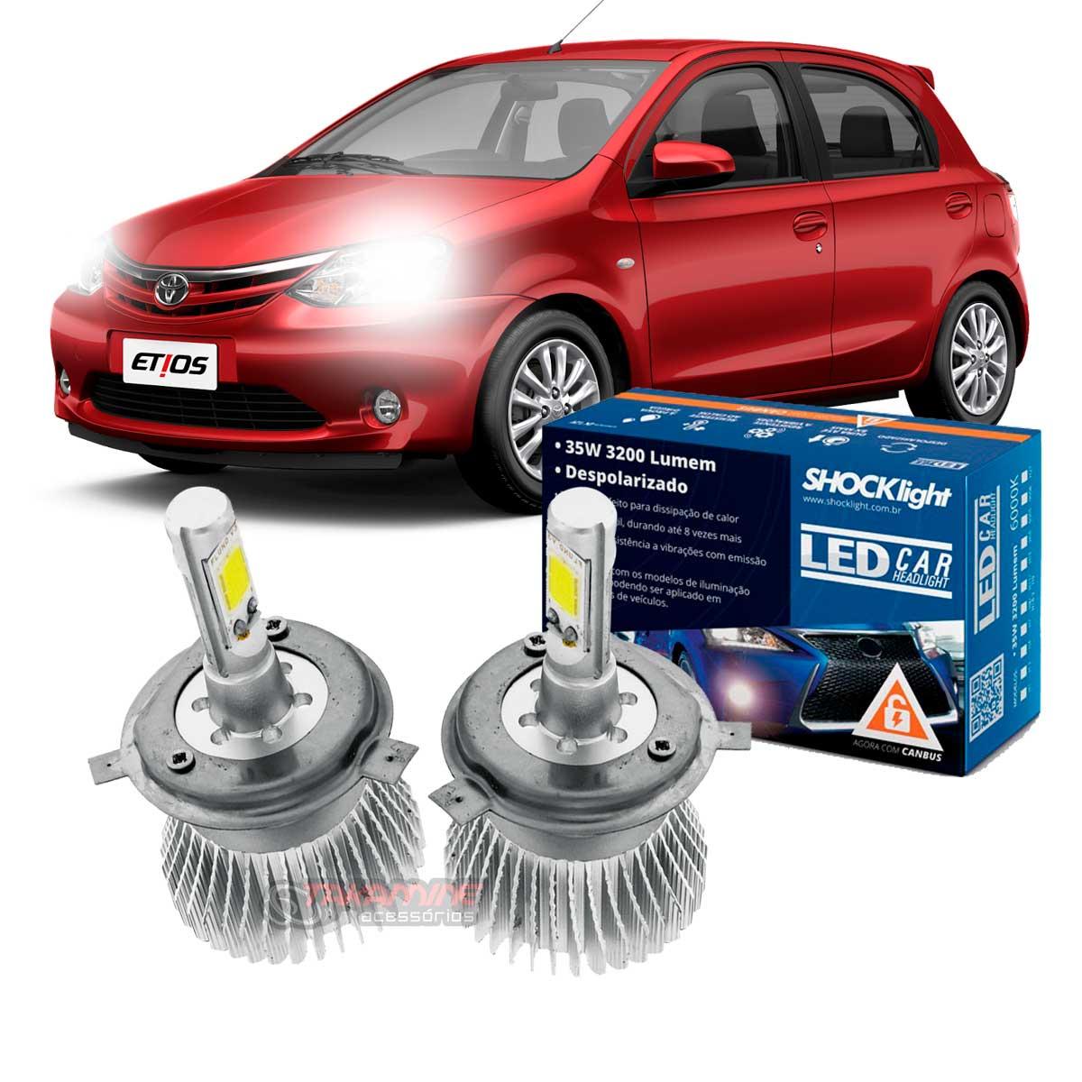 Kit LED Etios 2013 até 2020 tipo xenon farol alto e baixo H4 35W Headlight
