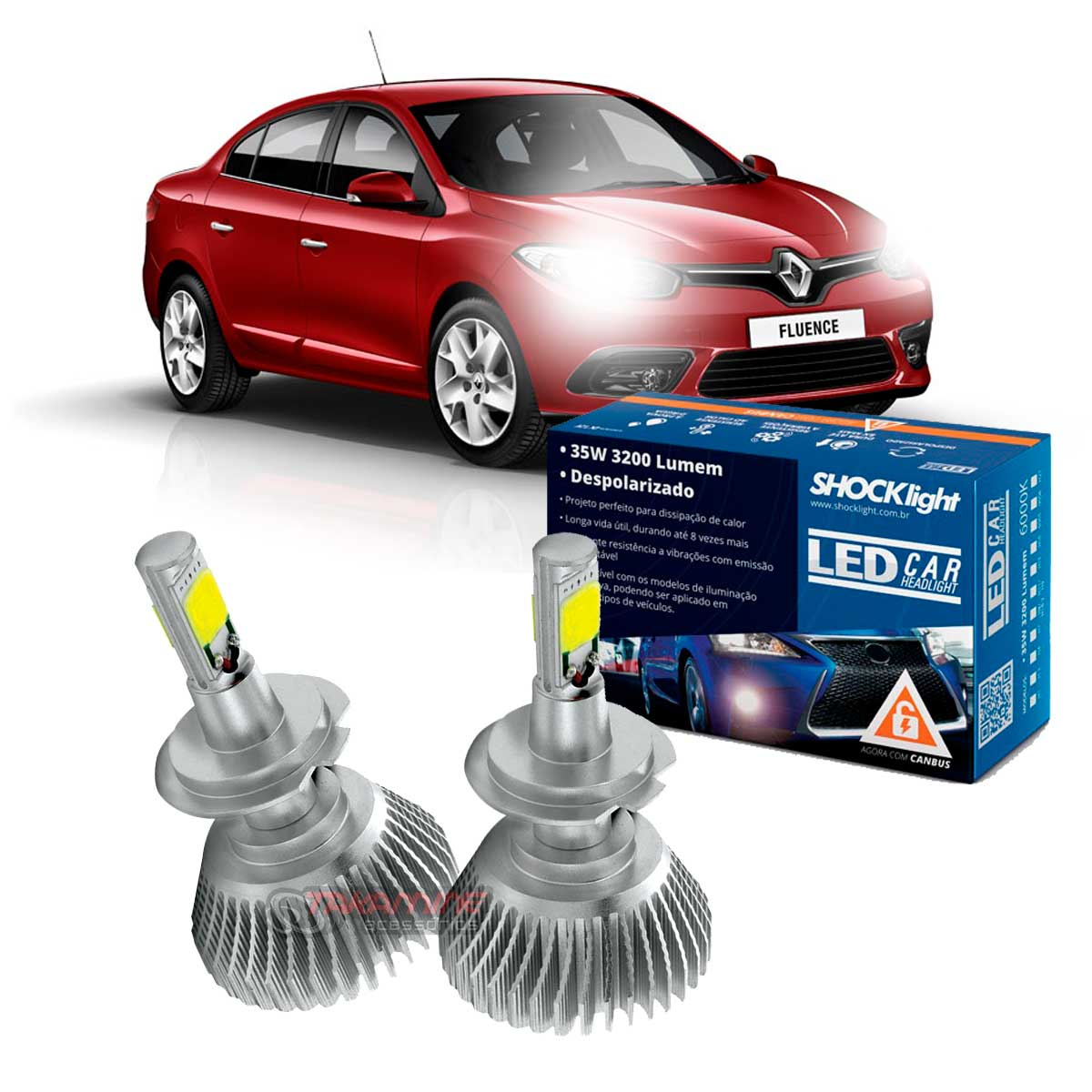 Kit LED Fluence 2011 2012 2013 2014 2015 2016 2017 tipo xenon farol baixo H7 35W Headlight