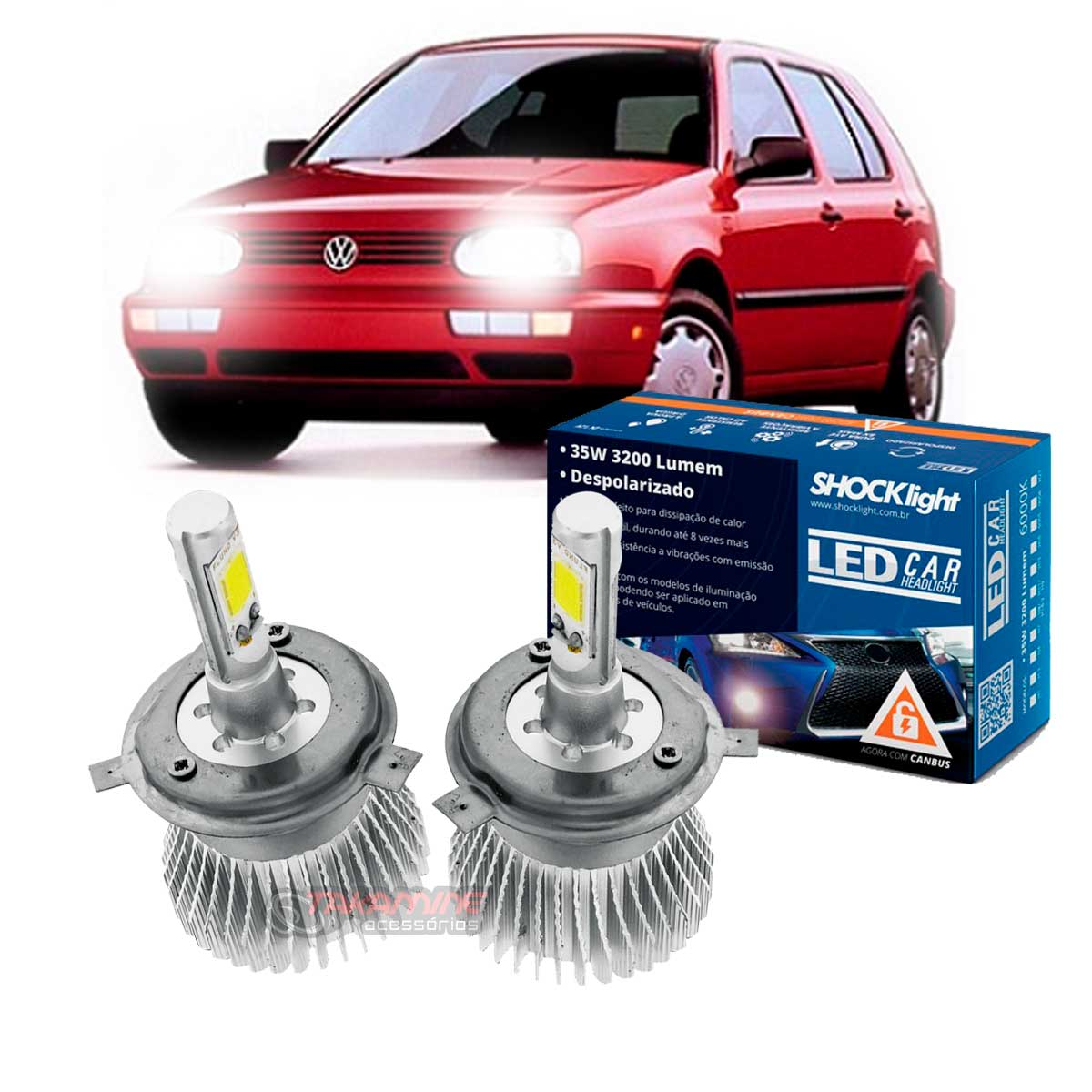 Kit LED Golf 1993 1994 1995 1996 1997 farol simples tipo xenon farol alto e baixo H4 35/35W Headlight