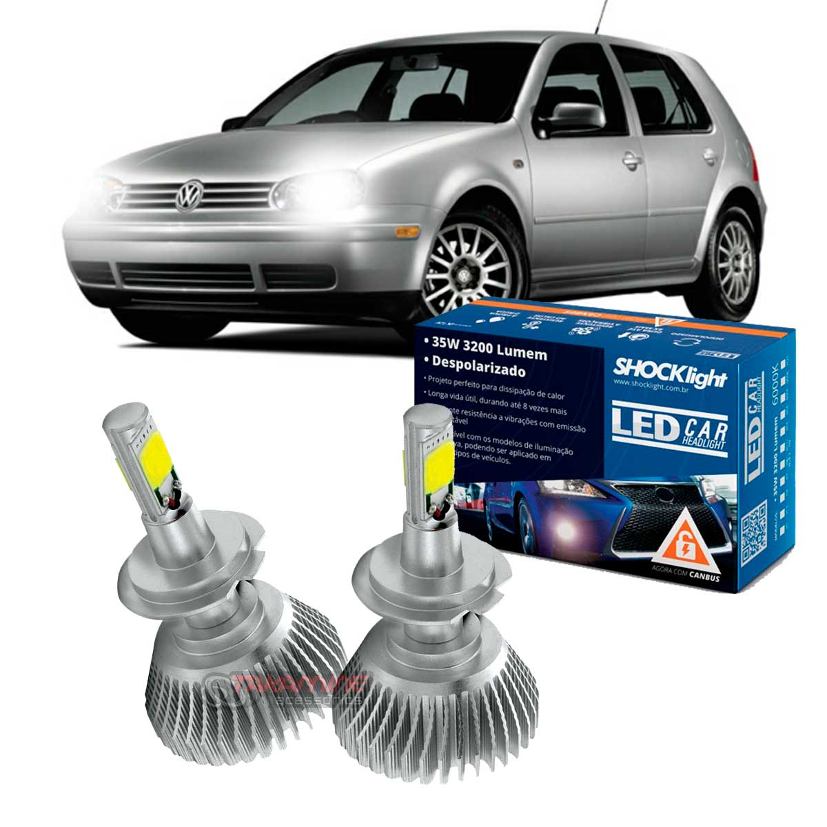 Kit LED Golf Nacional 1999 2000 2001 2002 2003 2004 2005 2006 tipo xenon farol baixo H7 35W Headlight