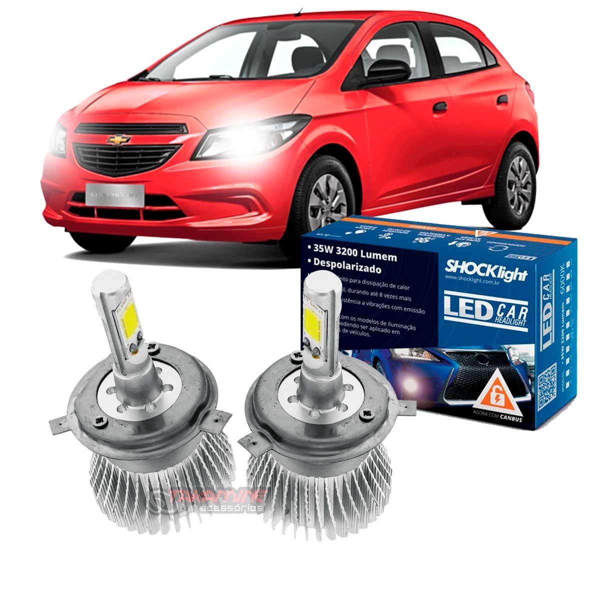 Kit LED Onix 2012 até 2020 tipo xenon farol alto e baixo H4 35W Headlight