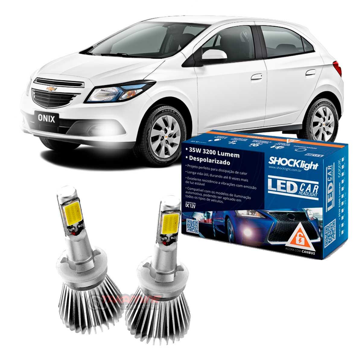 Kit LED tipo xenon Onix 2012 até 2020 farol milha H27 35W Headlight