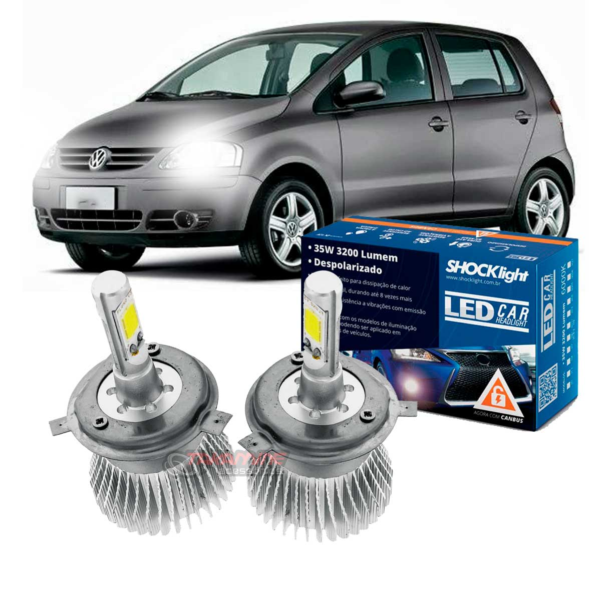 Kit LED Fox 2003 2004 2005 2006 2007 2008 2009 tipo xenon farol alto e baixo H4 35/35W Headlight