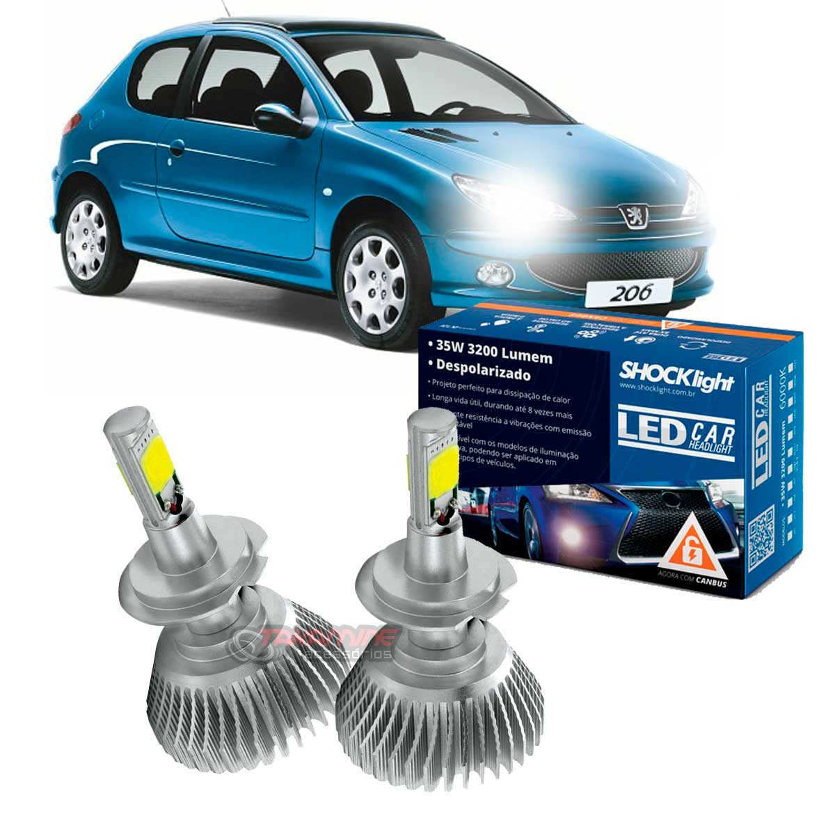 Kit LED Peugeot 206 Farol Duplo tipo xenon farol baixo H7 35W Headlight