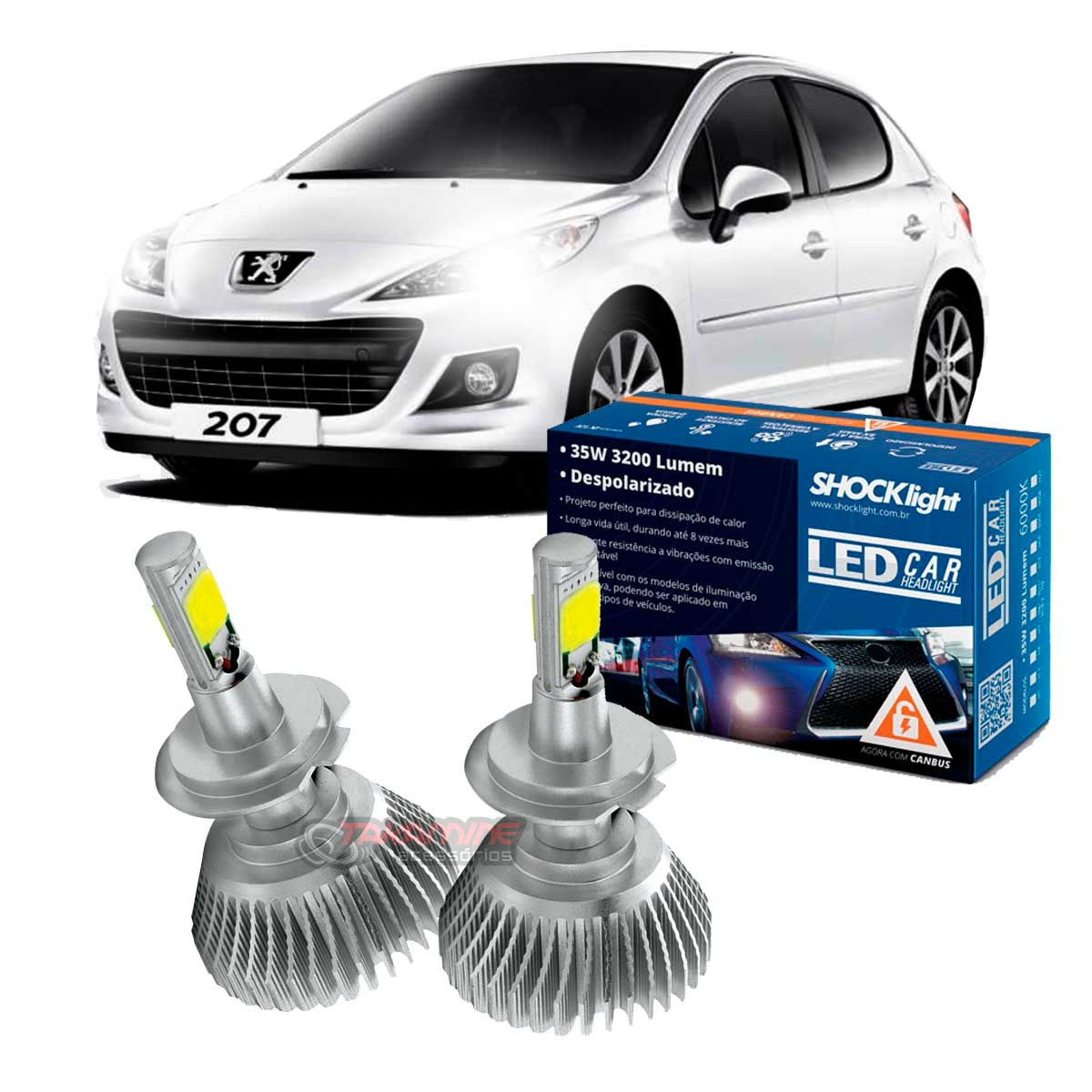 Kit LED Peugeot 207 tipo xenon Farol baixo H7 35W Headlight