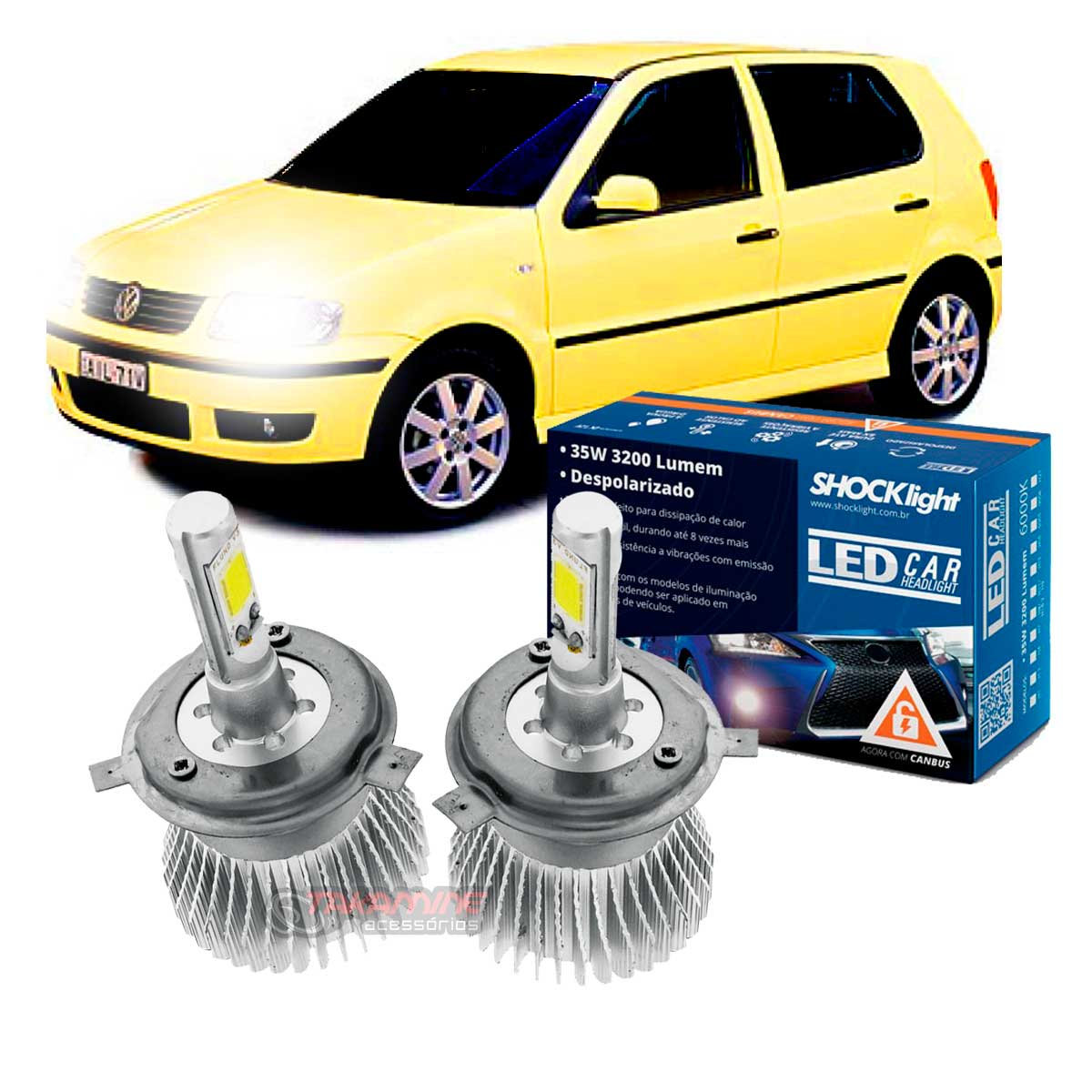 Kit LED Polo 1996 1997 1998 1999 2000 tipo xenon farol alto e baixo H4 35/35W Headlight