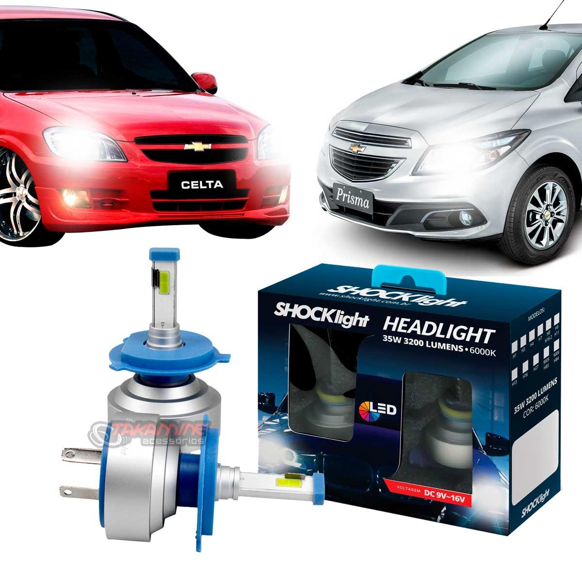 Kit LED Celta 2000 até 2015 Prisma 2006 até 2020 tipo xenon modelo H4 35W encaixe original plug & play New Headlight