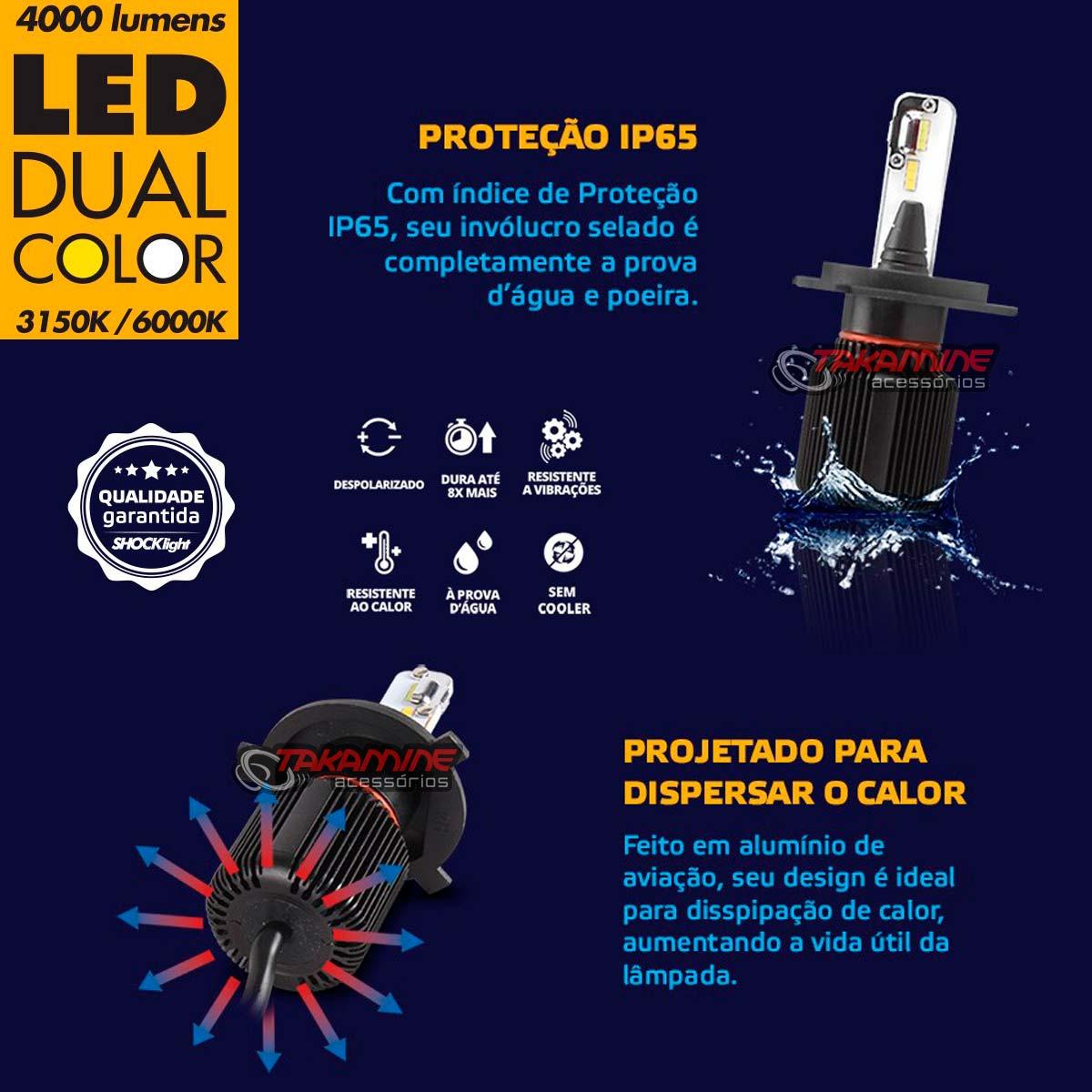 Kit de lâmpadas LED Dual Color Headlight Shocklight  tipo xenon H3 25W ilumina branco e amarelo