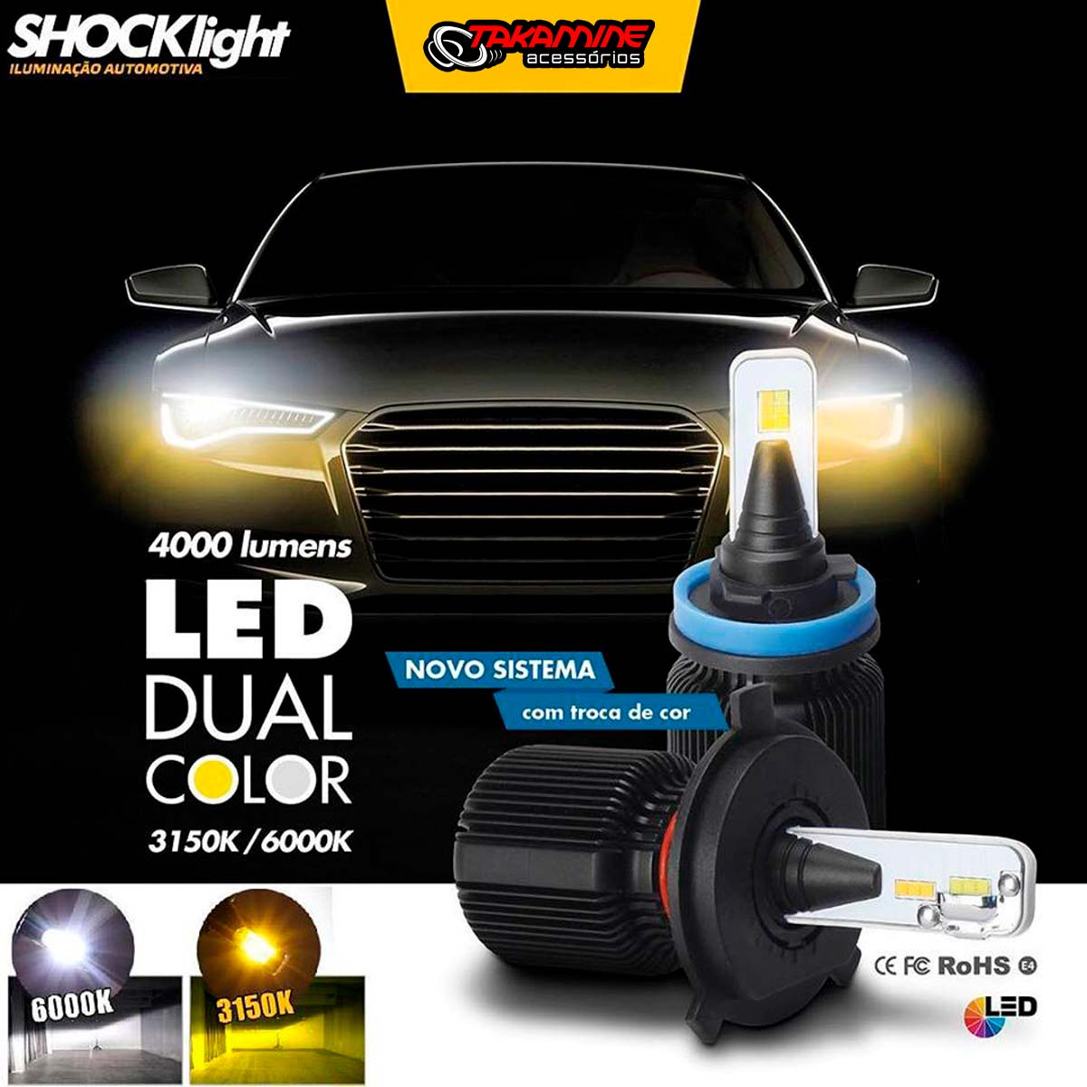 Kit de lâmpadas LED Dual Color Headlight Shocklight  tipo xenon HB3 25W ilumina branco e amarelo