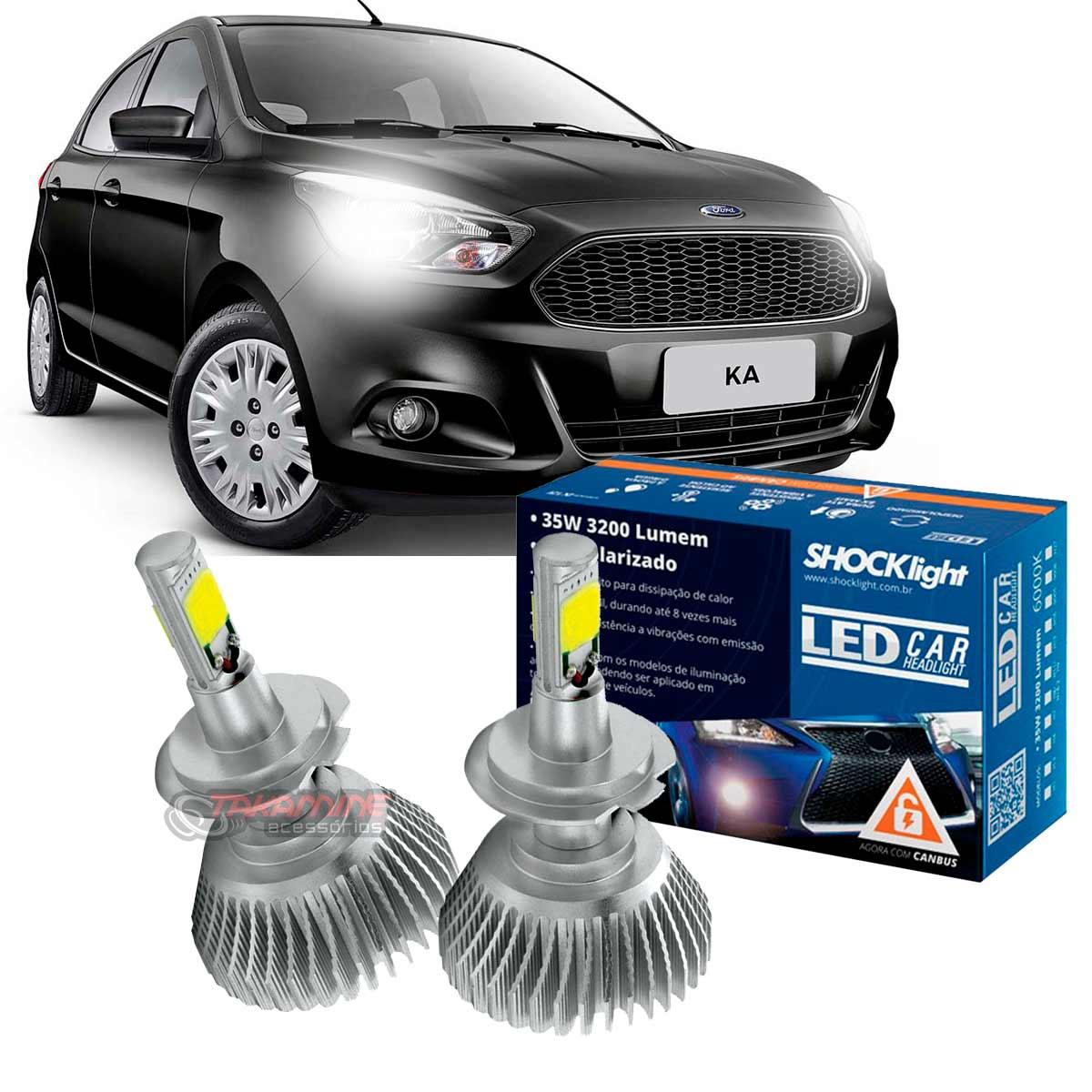 Kit LED Ford Ka 1997 até 2014 tipo xenon farol baixo H7 35W Headlight