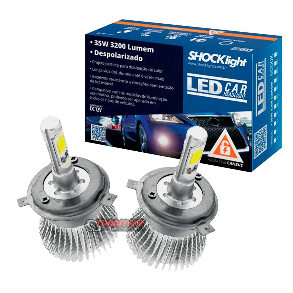 Kit LED Gol G7 2017 2018 2019 2020 tipo xenon farol alto e baixo H4 35W Headlight