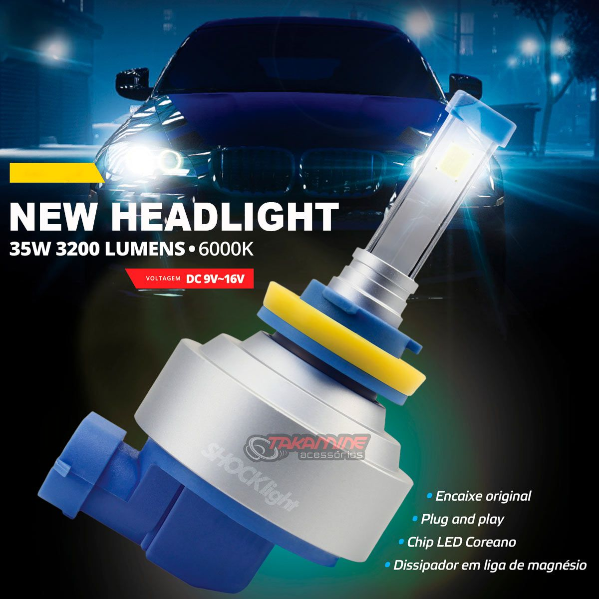 Kit LED HB20 2012 até 2020 tipo xenon modelo H4 35W encaixe original plug & play New Headlight