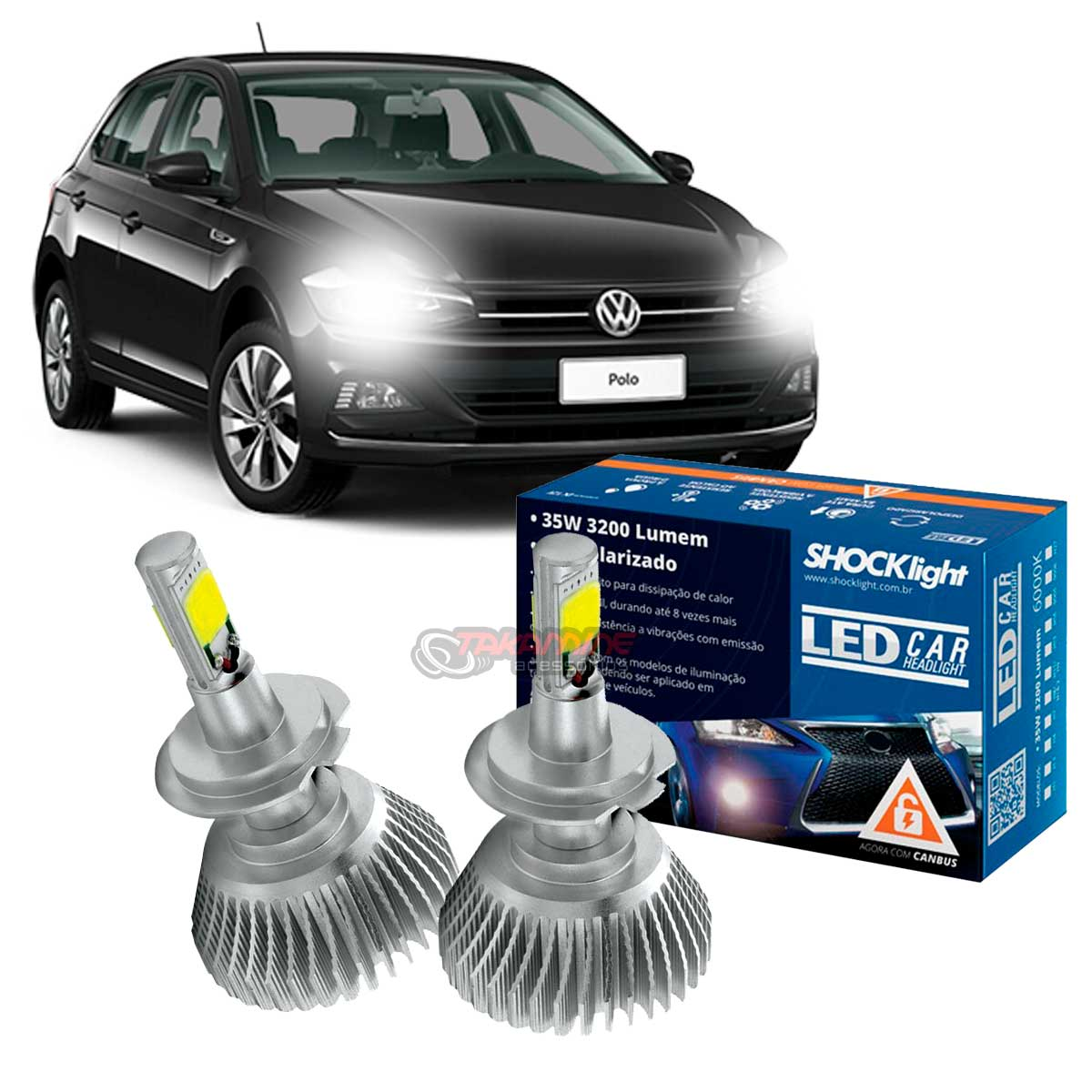 Kit LED Polo 2018 2019 2020 tipo xenon farol baixo H7 35W Headlight