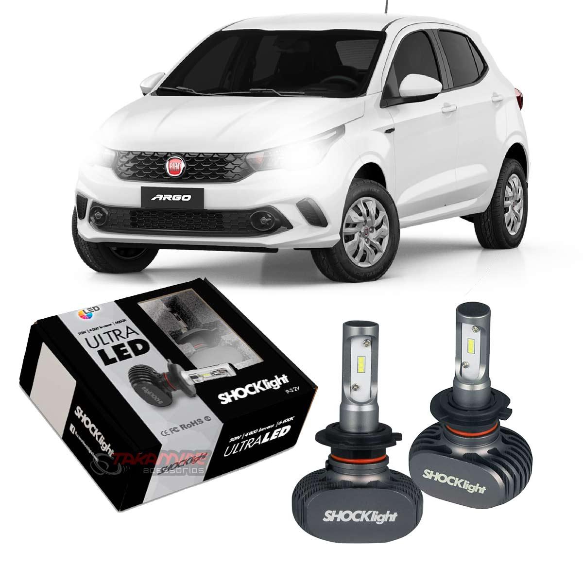 Kit Ultra LED Argo 2017 2018 2019 2020 tipo xenon farol baixo H7 50W