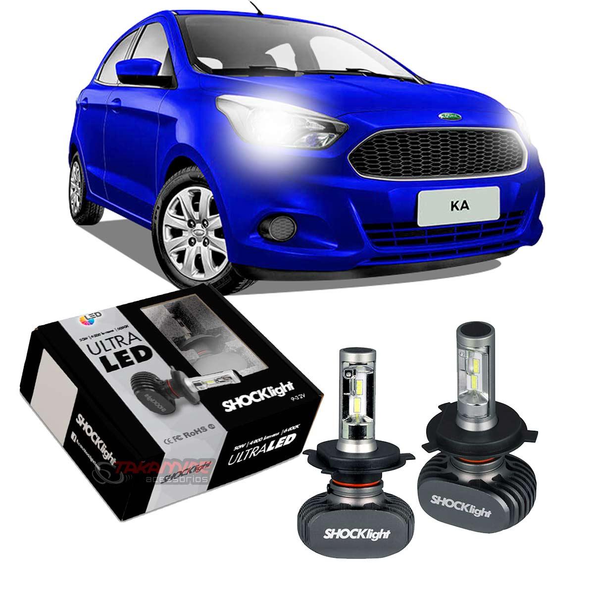 Kit Ultra LED Ka 2015 2016 2017 2018 2019 2020 tipo xenon farol alto e baixo H4 50 W