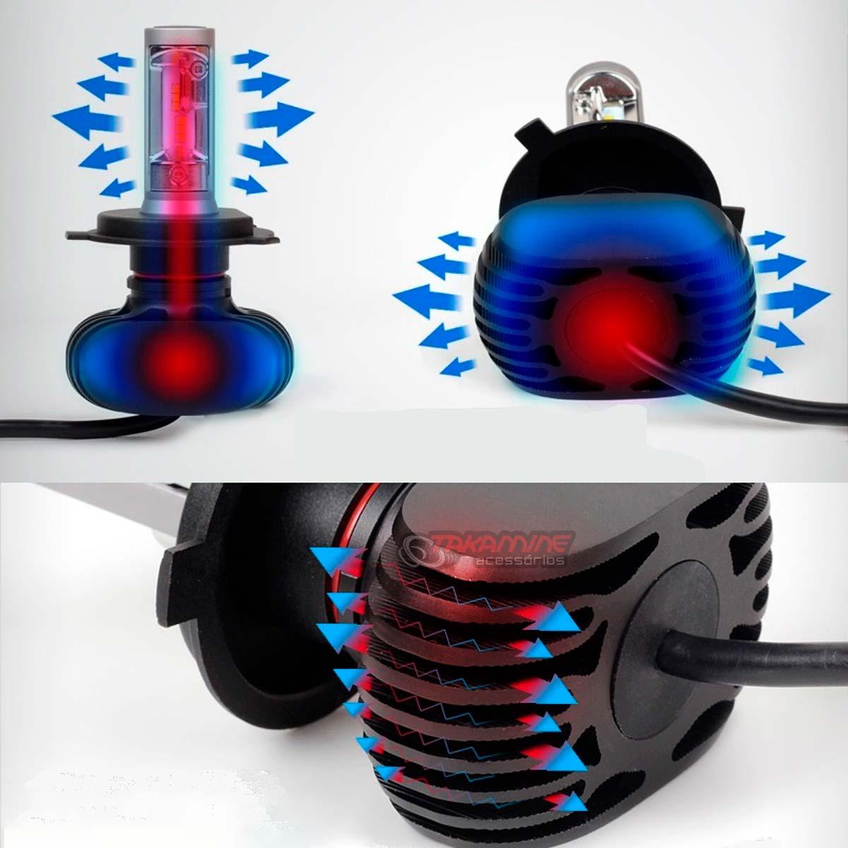 Kit Ultra LED Celta 2000 até 2015 Prisma 2006 até 2020 tipo xenon farol alto e baixo H4 50W