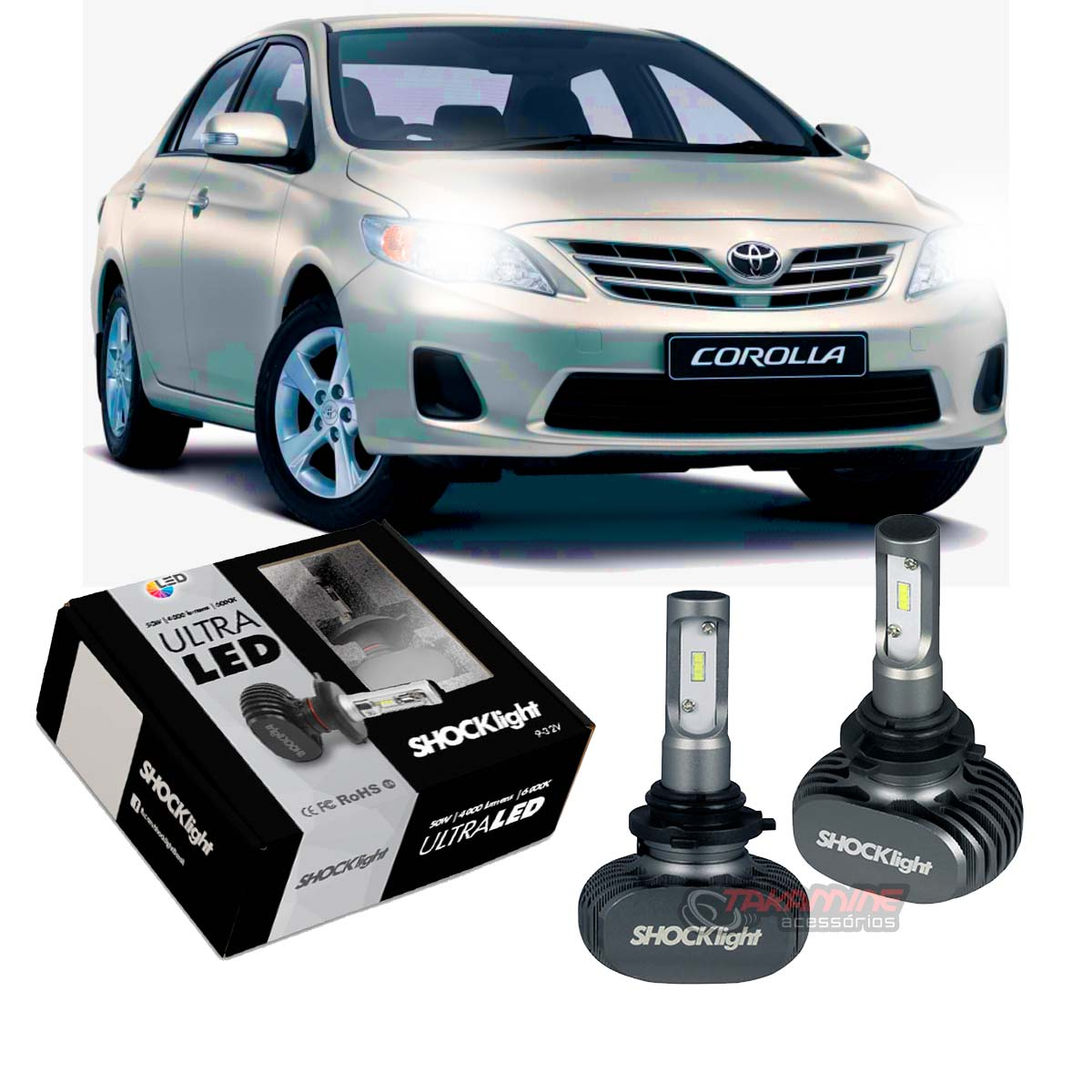 Kit Ultra LED Corolla 2012 2013 2014 tipo xenon farol baixo HB4 50W