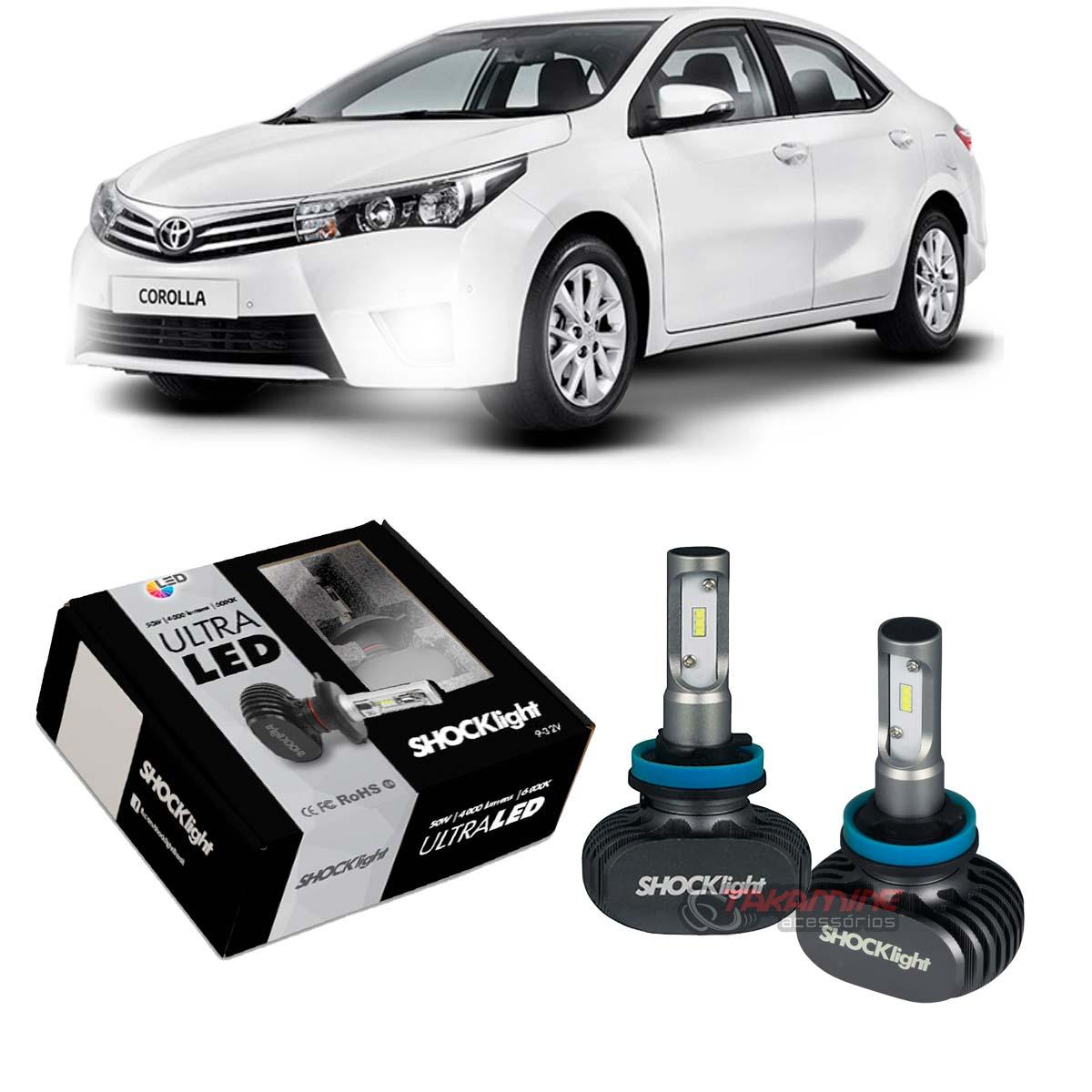 Kit Ultra LED Corolla 2015 2016 2017 tipo xenon farol de milha H11 50W
