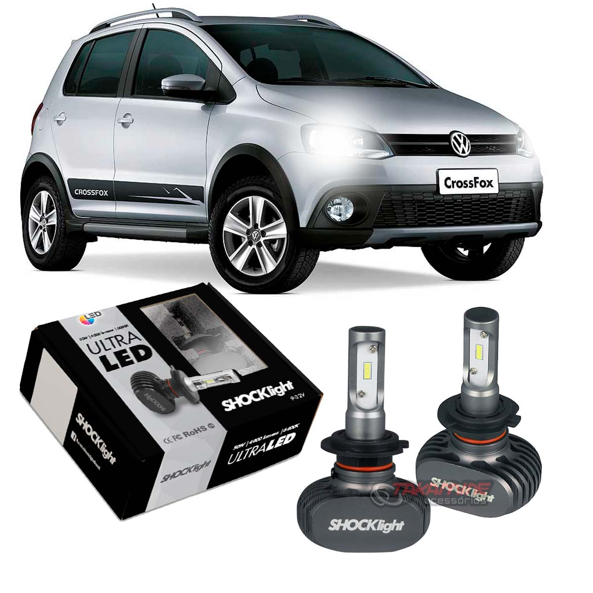 Kit Ultra LED Crossfox 2010 2011 2012 2013 2014 2015 tipo xenon farol baixo H7 50W