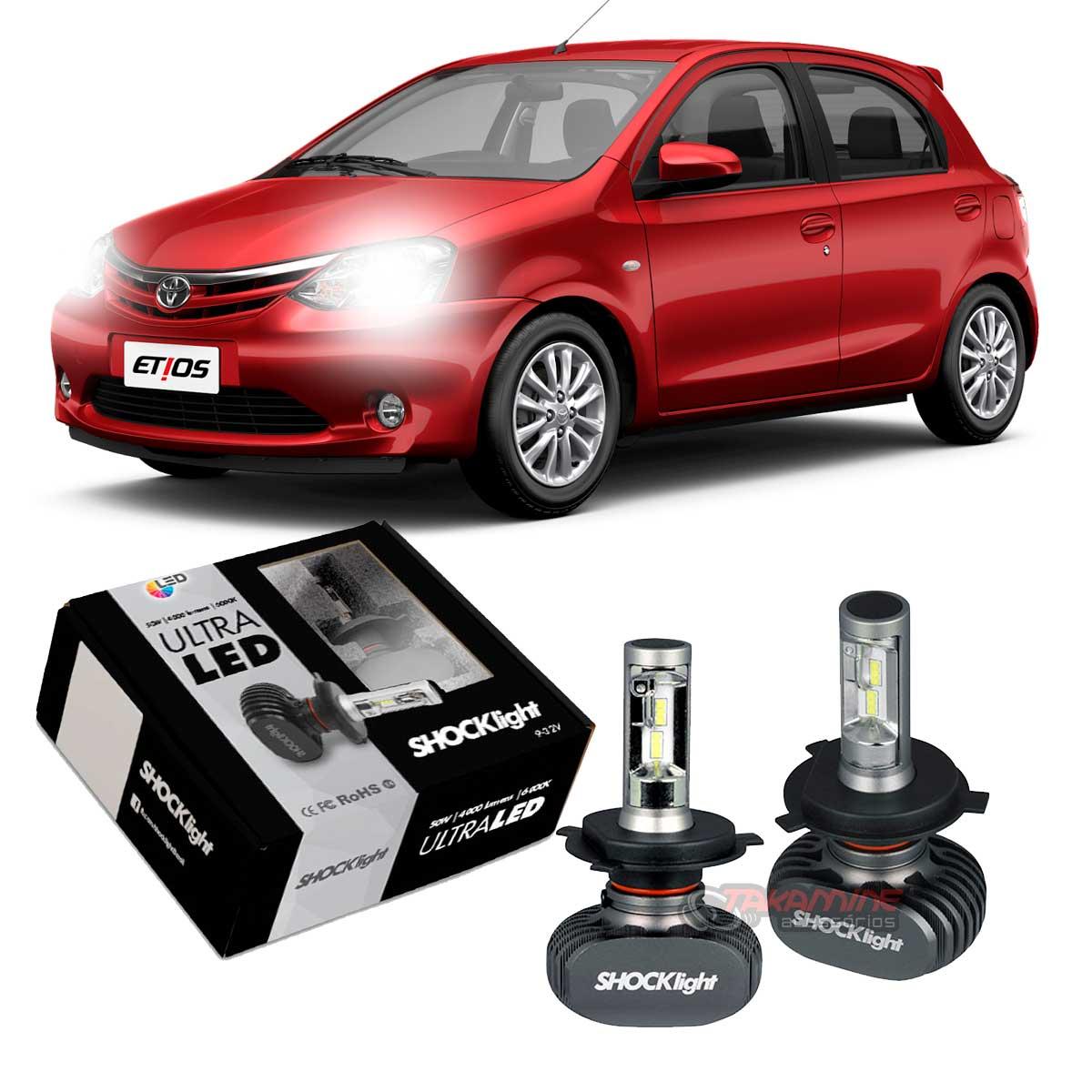 Kit Ultra LED Etios 2013 até 2020 tipo xenon farol alto e baixo H4 50W