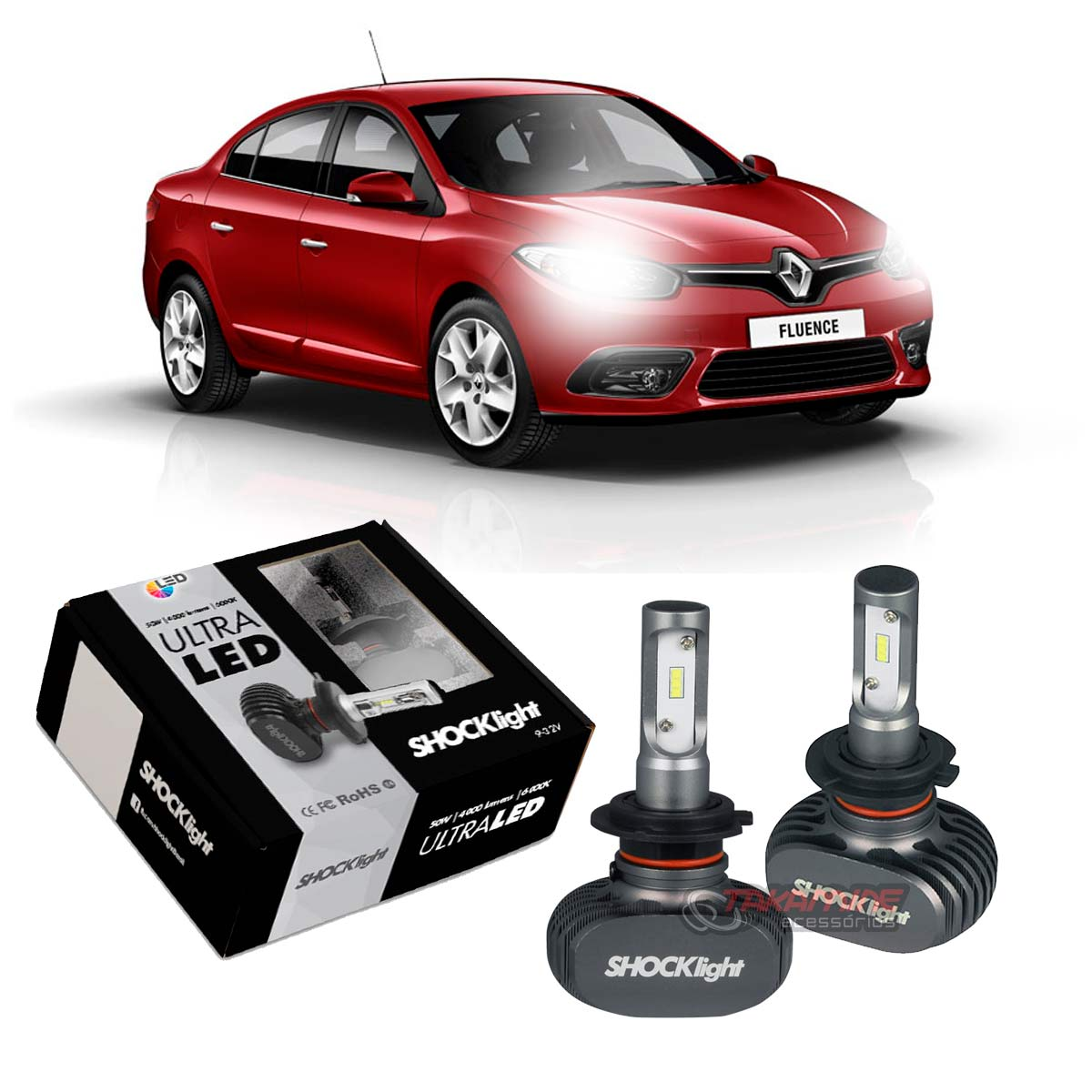Kit Ultra LED Fluence 2011 2012 2013 2014 2015 2016 2017 tipo xenon farol baixo H7 50W