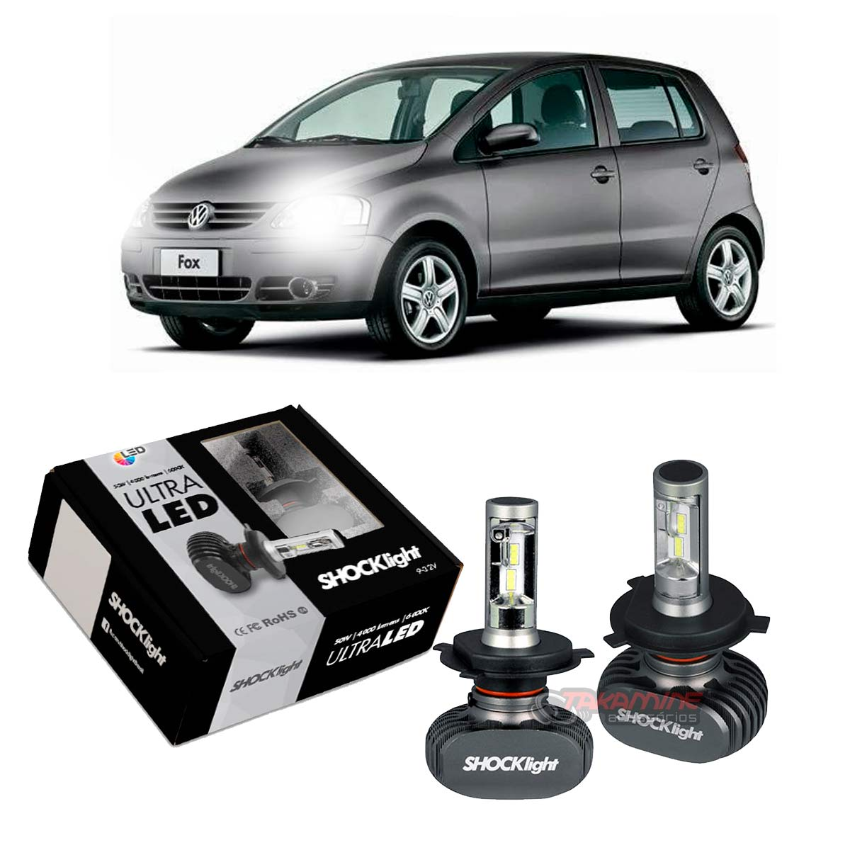 Kit Ultra LED Fox 2003 2004 2005 2006 2007 2008 2009 tipo xenon farol alto e baixo H4 50W