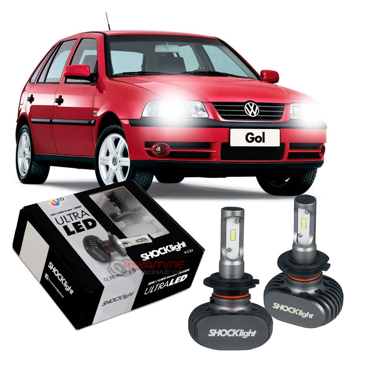 Kit Ultra LED Gol G3 farol duplo 2000 2001 2002 2003 2004 2005 tipo xenon farol baixo H7 50W