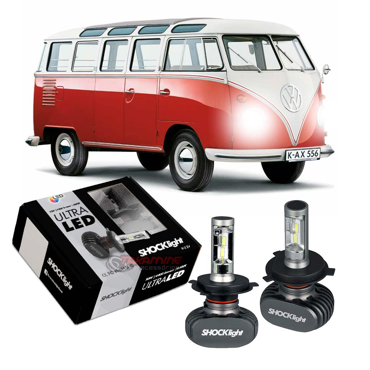 Kit Ultra LED Kombi 1958 até 2013 tipo xenon farol alto e baixo H4 50W