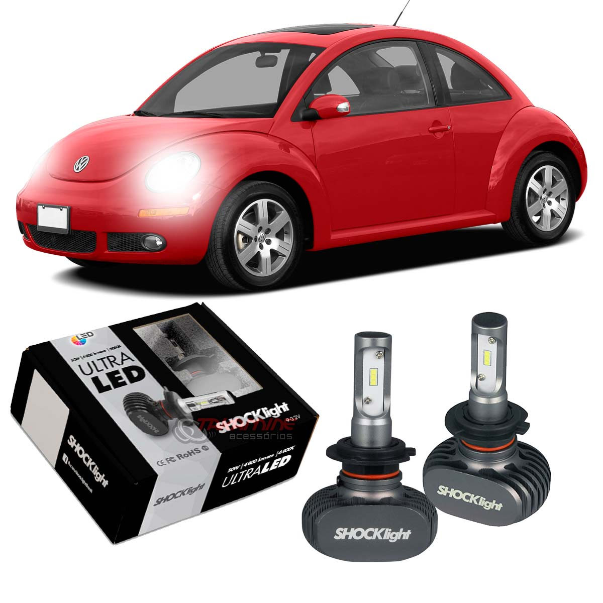 Kit Ultra LED New Beetle 2006 2007 2008 2009 2010 2011 2012 tipo xenon farol baixo H7 50W