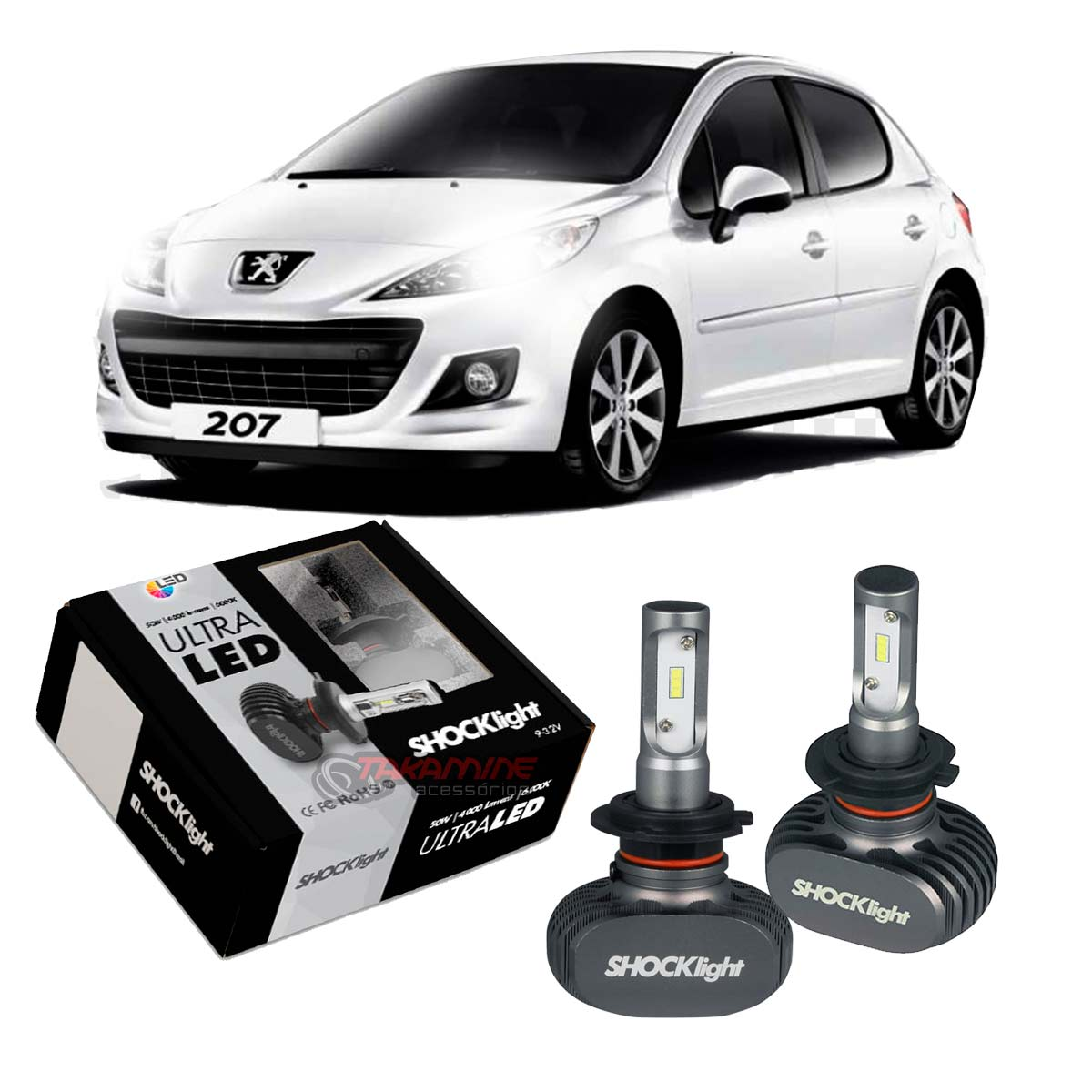 Kit Ultra LED Peugeot 207 2008 até 2015 tipo xenon farol baixo H7 50W