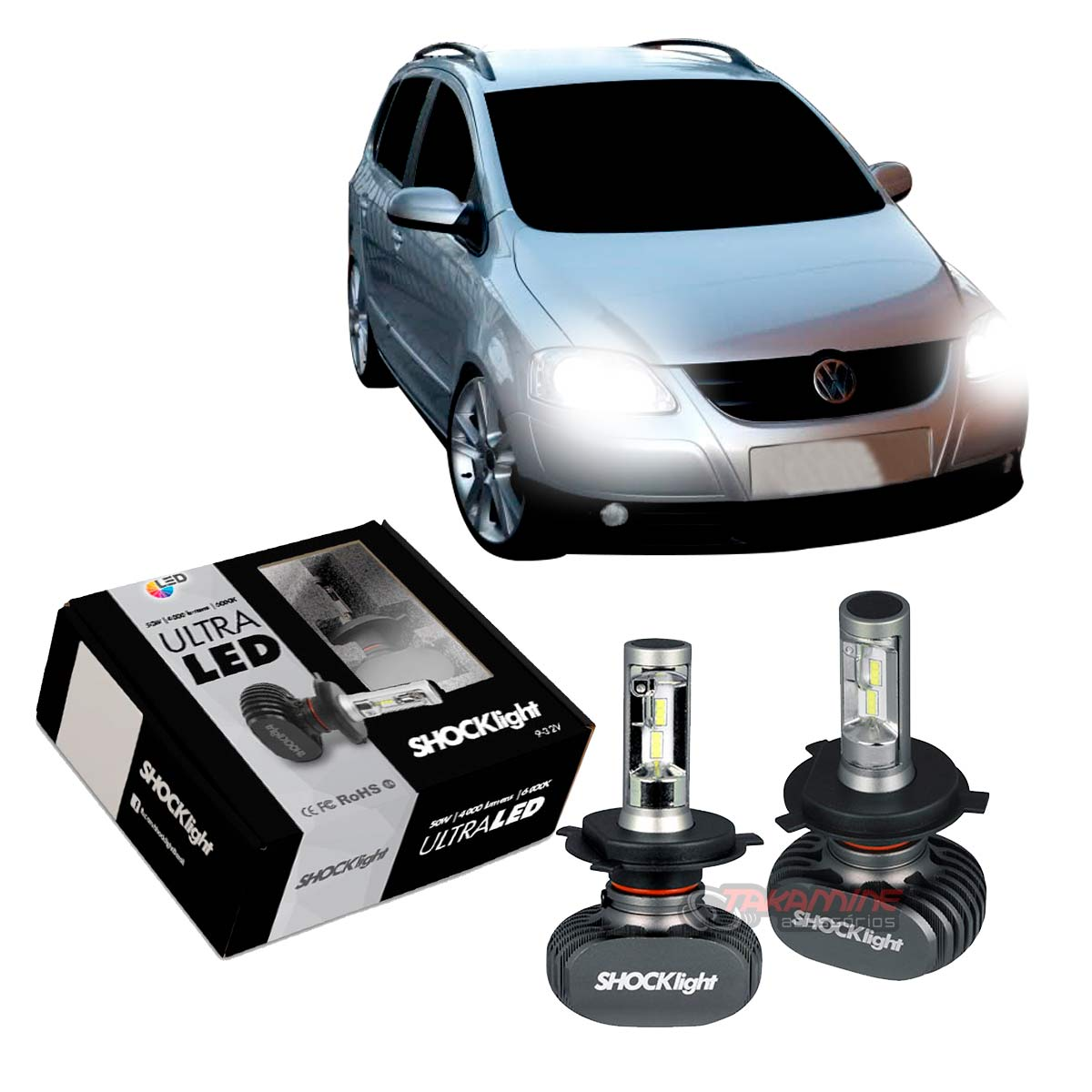 Kit Ultra LED  SpaceFox 2007 2008 2009 tipo xenon farol alto e baixo H4 50W