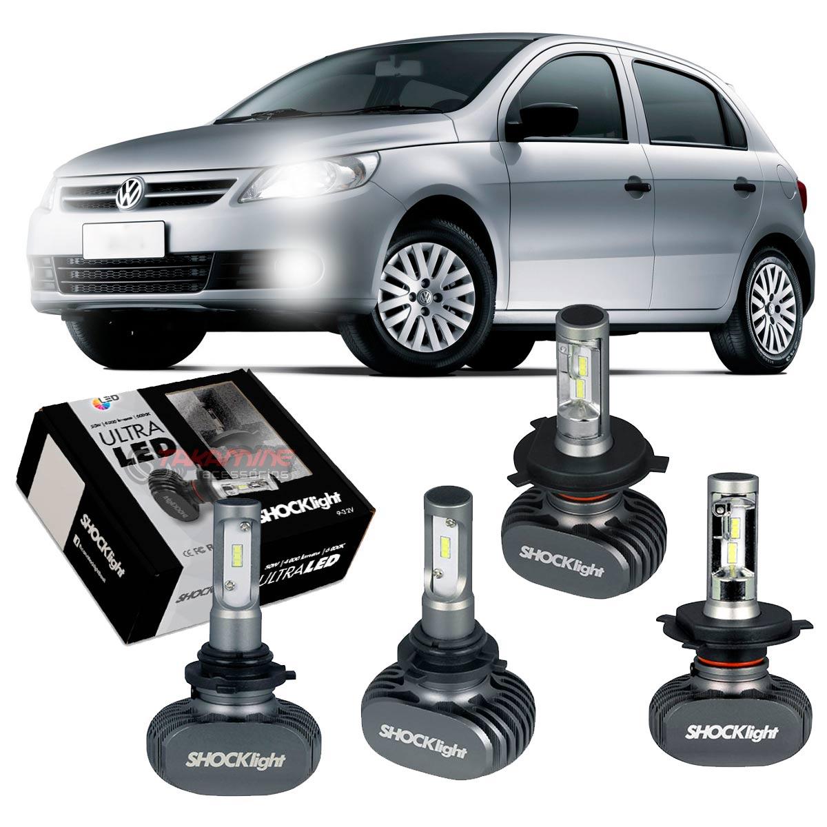 Kit Ultra LED Gol G5 2008 2009 2010 2011 2012 tipo xenon farol alto e baixo H4 50W