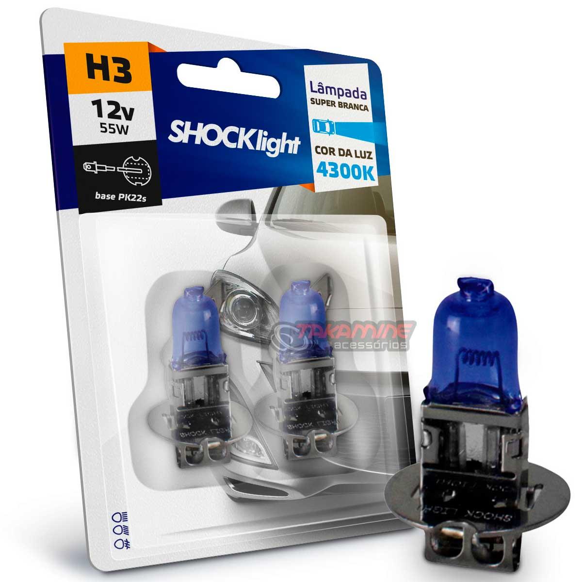 Lâmpada super branca H3 4300K 55w 12v