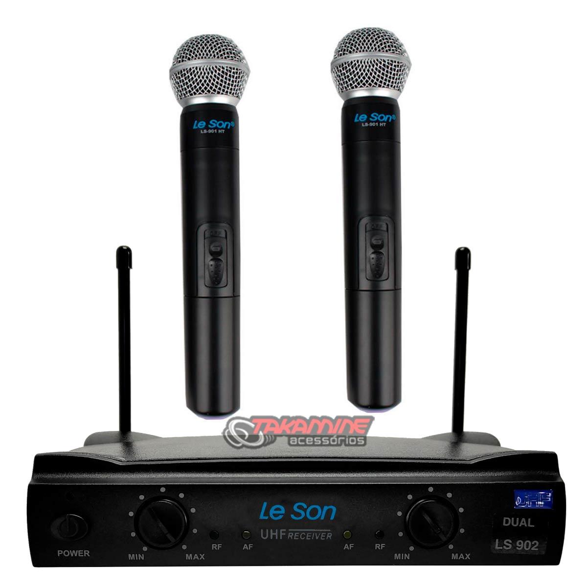 Microfones sem fio Le Son LS902 HT/HT cardióide e unidirecional preto