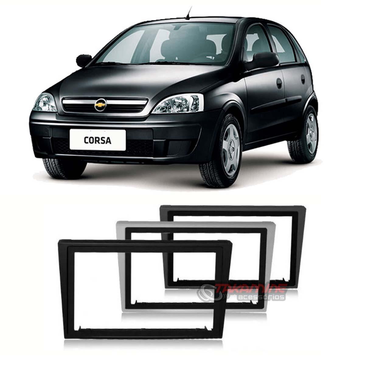 Moldura 2 Din Corsa 2002 até 2010 prata, preta ou cinza c/suporte padrão chinês / japonês